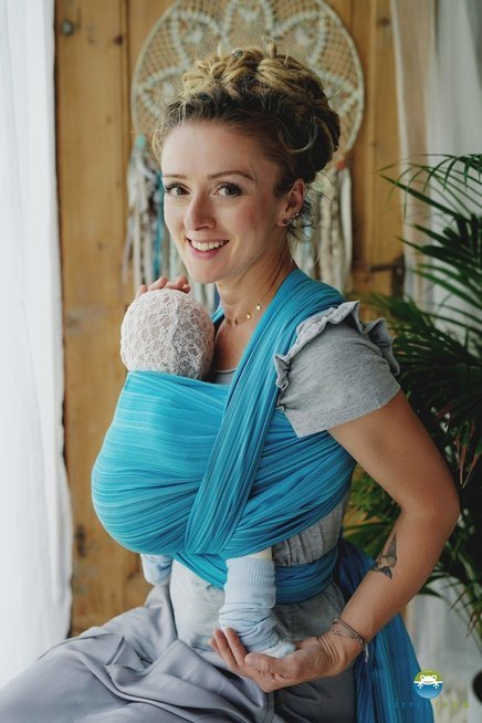 Little Frog Woven wrap - Aquamarine -size 4