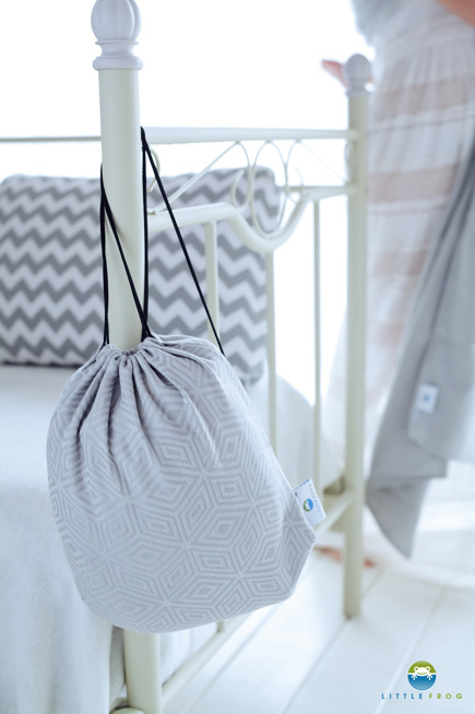 Drawstring Bag for wrap/sling -   Grey Cube