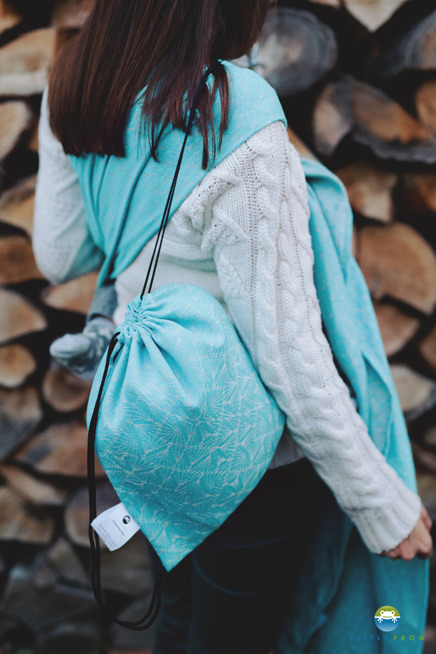 Drawstring Bag for wrap/sling - Turquoise Ray