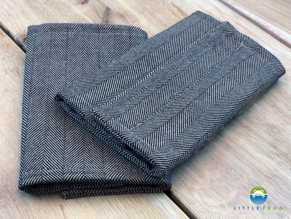 Drool Pads for Little Frog Carrier - Graphite Herringbone