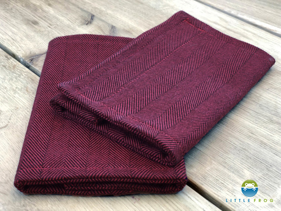 Drool Pads for Little Frog Carrier - Ruby Herringbone
