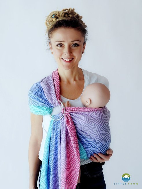LITTLE FROG JACQUARD RING SLING - AURORA CUBE  -size S