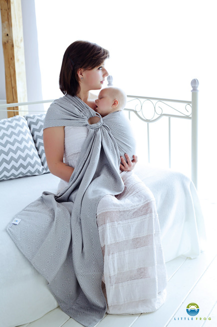 LITTLE FROG JACQUARD RING SLING - GREY CUBE  -size S