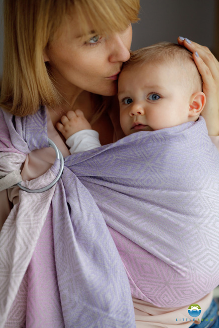 LITTLE FROG JACQUARD RING SLING - LINEN LILAC CUBE -size S