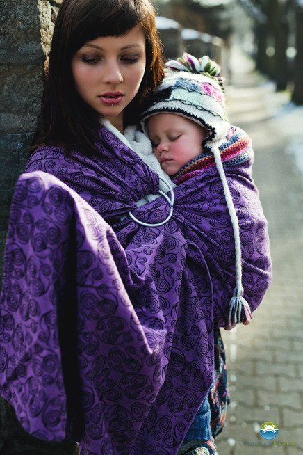 LITTLE FROG JACQUARD RING SLING - PURPLE GLOW -SIZE M