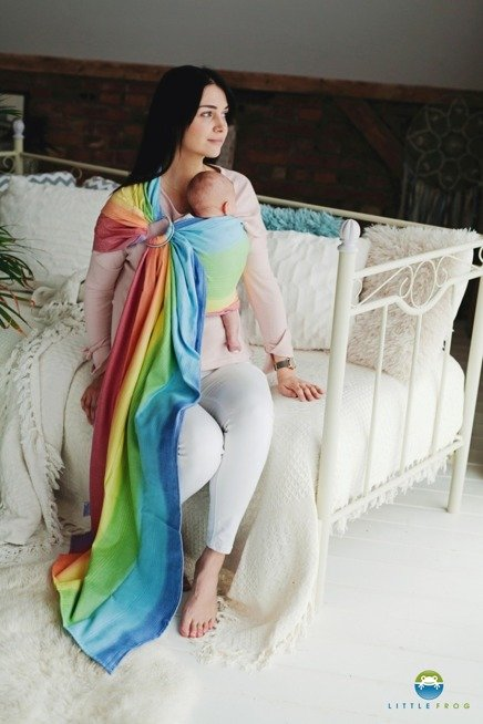 LITTLE FROG RING SLING  - RAINBOW AURA -size S