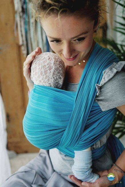 Little Frog Woven wrap - Aquamarine -size 5